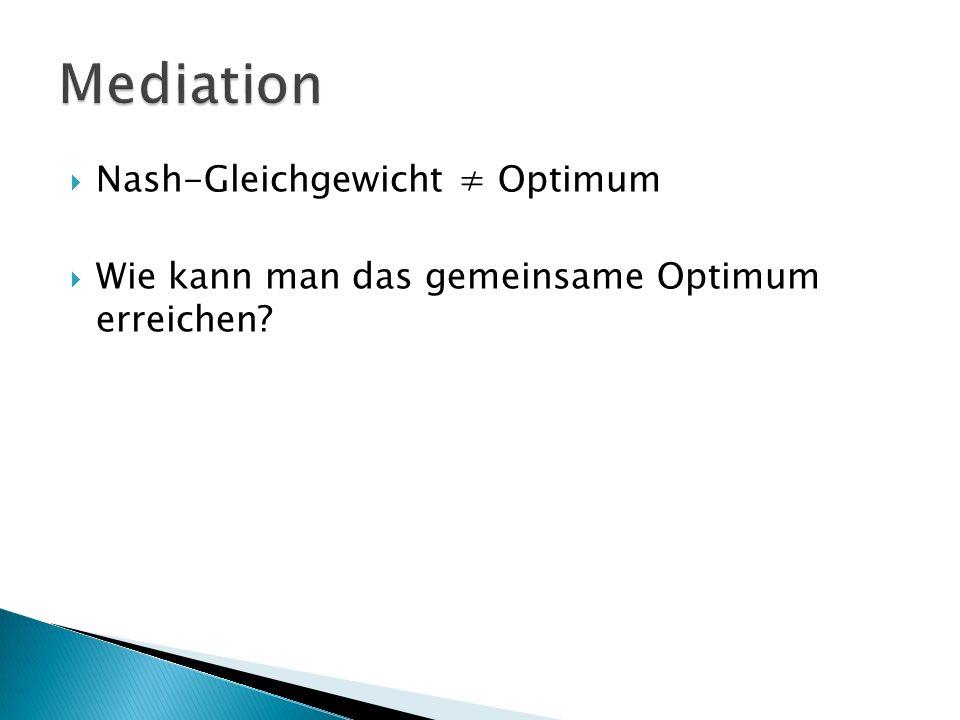  Nash-Gleichgewicht ≠ Optimum  Wie kann man das gemeinsame Optimum erreichen