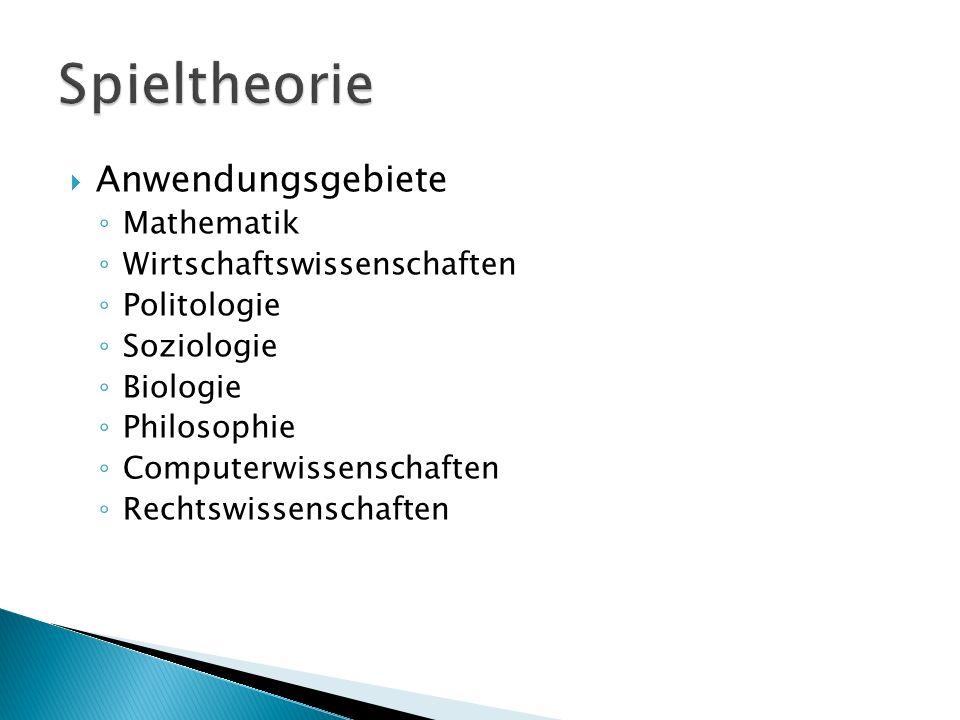  Anwendungsgebiete ◦ Mathematik ◦ Wirtschaftswissenschaften ◦ Politologie ◦ Soziologie ◦ Biologie ◦ Philosophie ◦ Computerwissenschaften ◦ Rechtswiss
