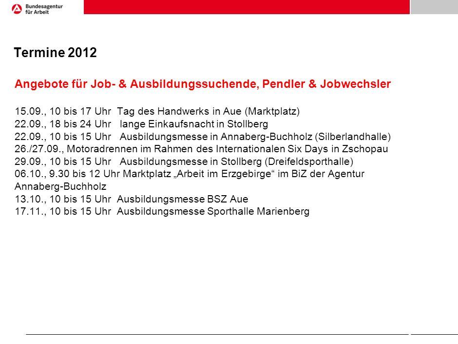 Termine 2012 Angebote für Job- & Ausbildungssuchende, Pendler & Jobwechsler 15.09., 10 bis 17 Uhr Tag des Handwerks in Aue (Marktplatz) 22.09., 18 bis