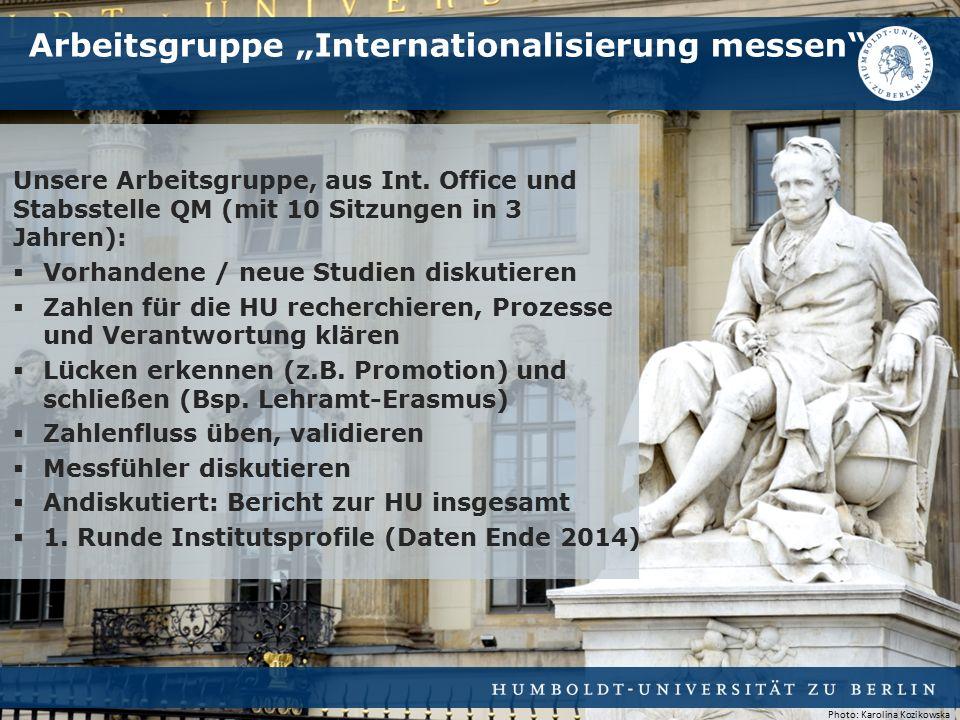 Unsere Arbeitsgruppe, aus Int. Office und Stabsstelle QM (mit 10 Sitzungen in 3 Jahren):  Vorhandene / neue Studien diskutieren  Zahlen für die HU r