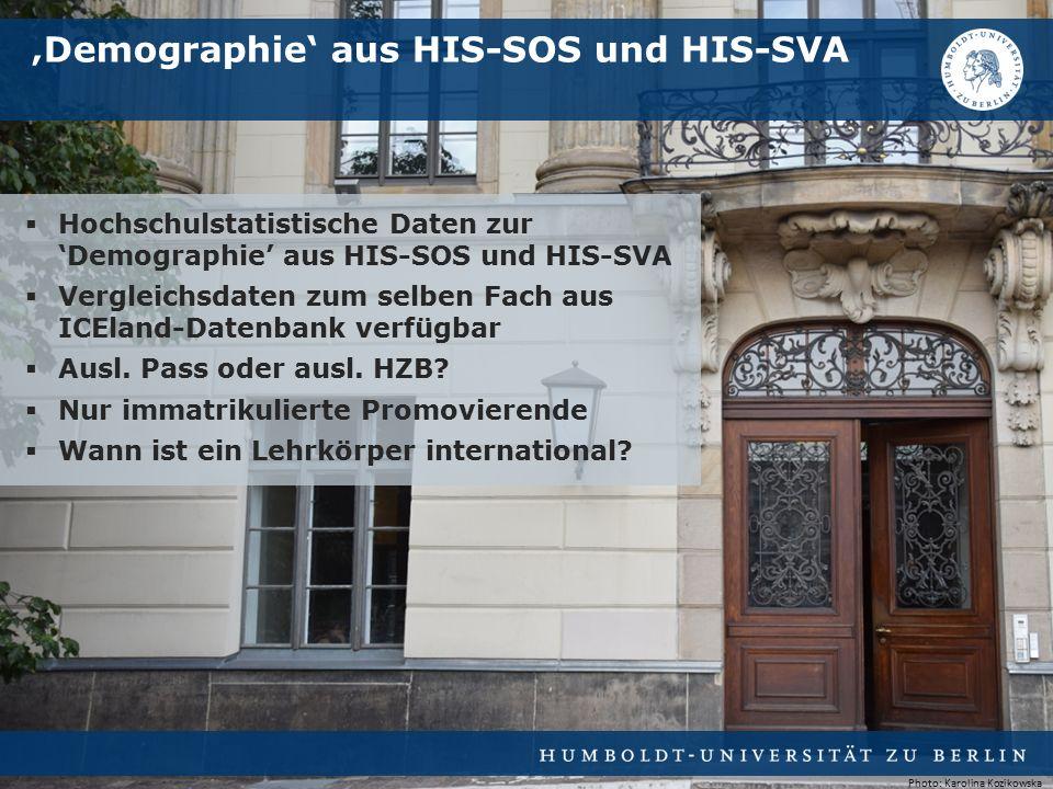  Hochschulstatistische Daten zur 'Demographie' aus HIS-SOS und HIS-SVA  Vergleichsdaten zum selben Fach aus ICEland-Datenbank verfügbar  Ausl.