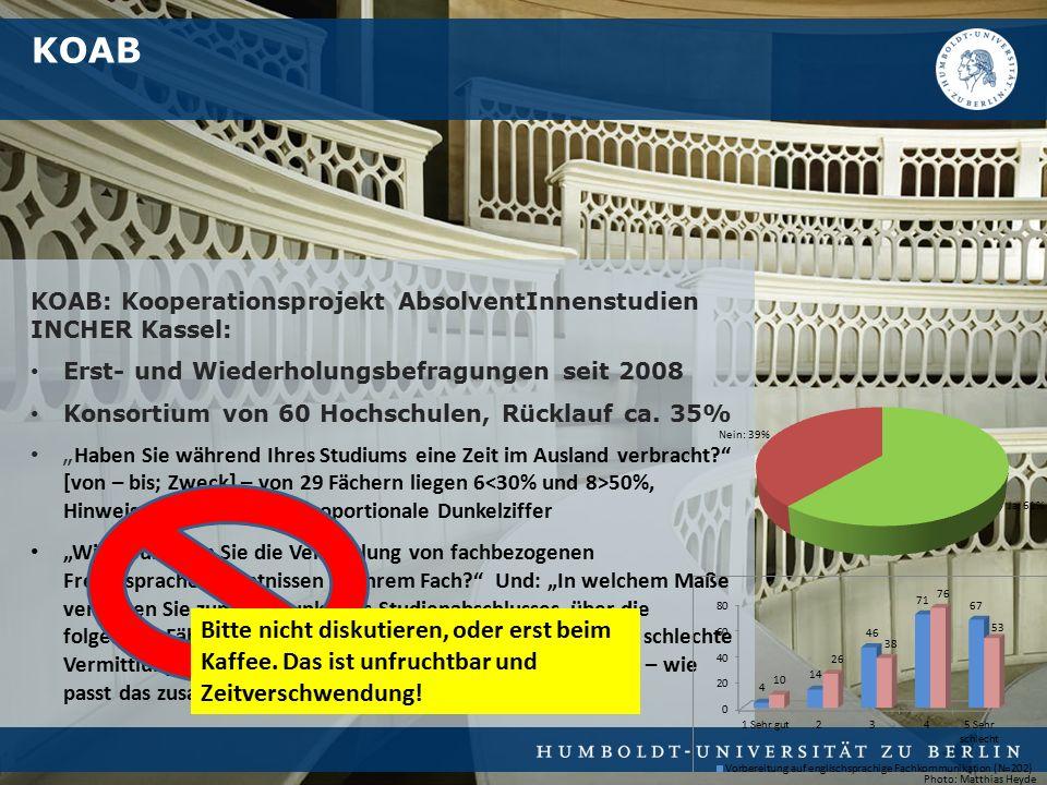 KOAB: Kooperationsprojekt AbsolventInnenstudien INCHER Kassel: Erst- und Wiederholungsbefragungen seit 2008 Konsortium von 60 Hochschulen, Rücklauf ca.