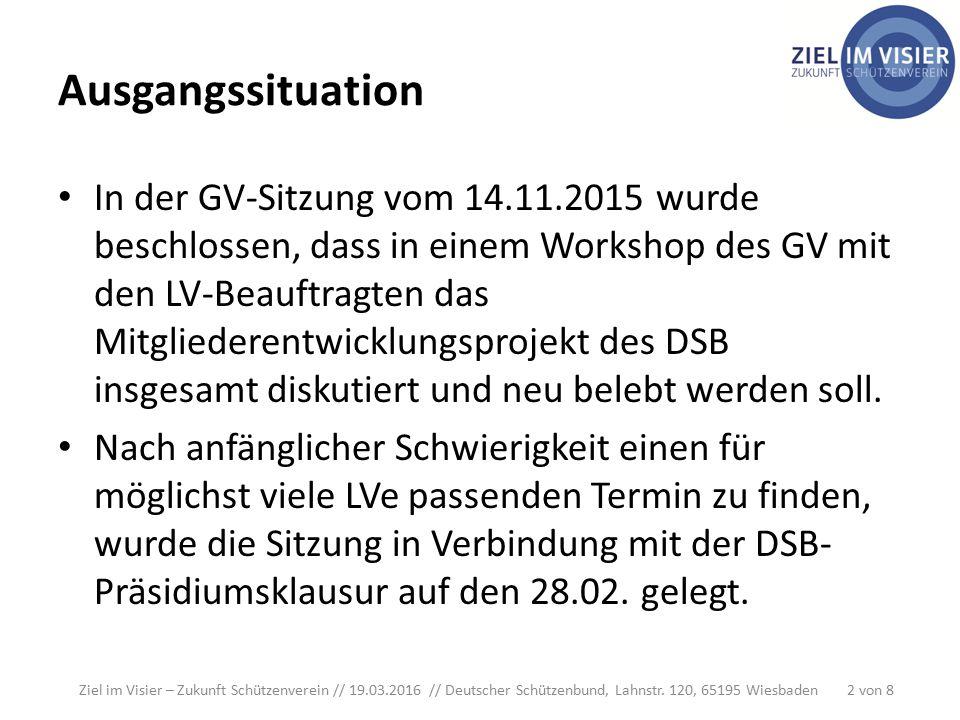 Ausgangssituation In der GV-Sitzung vom 14.11.2015 wurde beschlossen, dass in einem Workshop des GV mit den LV-Beauftragten das Mitgliederentwicklungsprojekt des DSB insgesamt diskutiert und neu belebt werden soll.