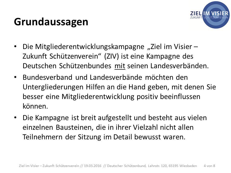 """Grundaussagen Die Mitgliederentwicklungskampagne """"Ziel im Visier – Zukunft Schützenverein (ZIV) ist eine Kampagne des Deutschen Schützenbundes mit seinen Landesverbänden."""