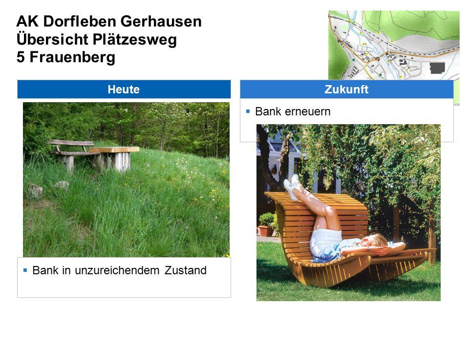 AK Dorfleben Gerhausen Übersicht Plätzesweg 6 Kriegerdenkmal Heute  Zugang von unten schwierig Zukunft  Aussicht freischneiden  Weg freischneiden