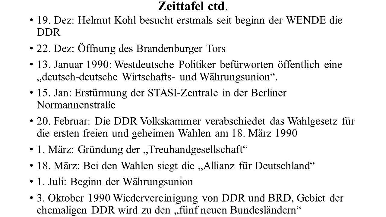 Zeittafel ctd. 19. Dez: Helmut Kohl besucht erstmals seit beginn der WENDE die DDR 22.