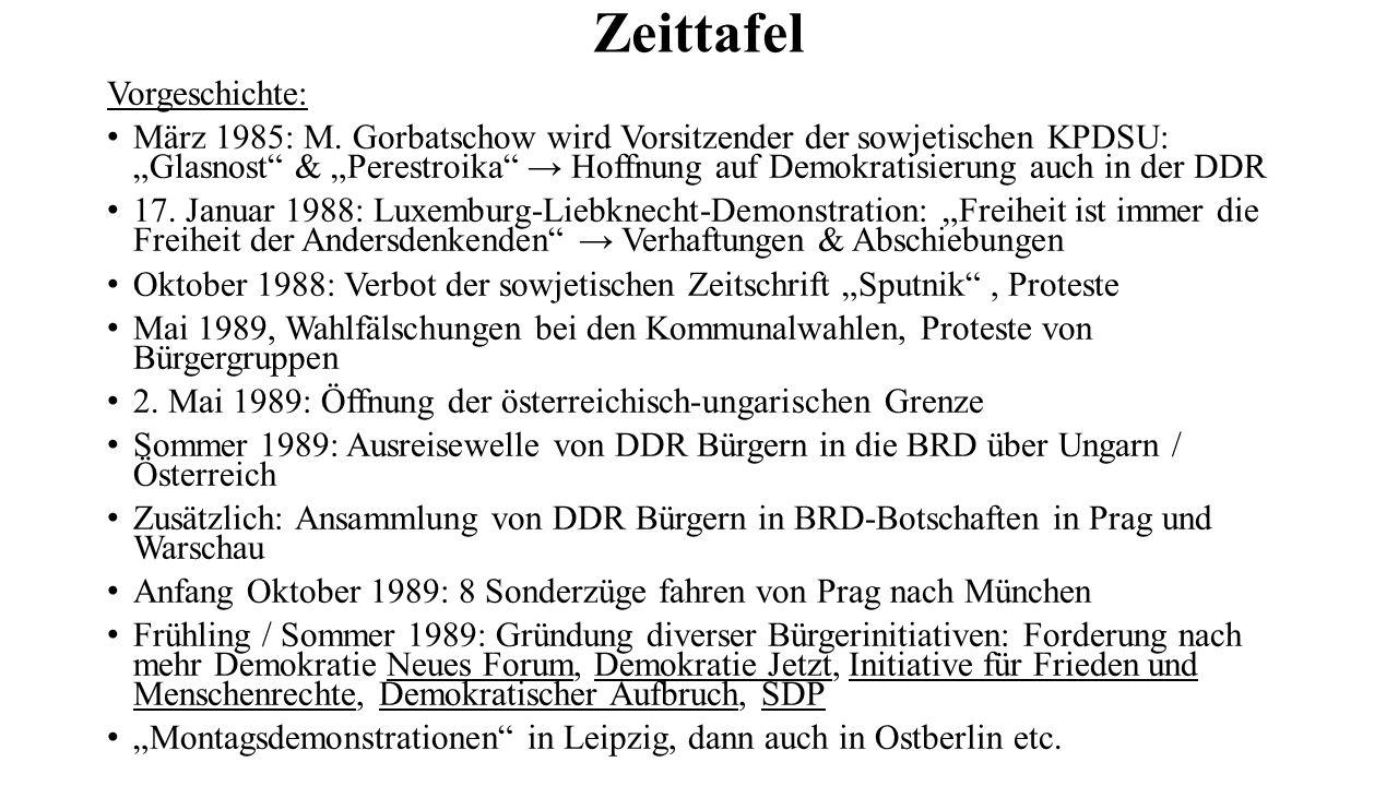 """Zeittafel Vorgeschichte: März 1985: M. Gorbatschow wird Vorsitzender der sowjetischen KPDSU: """"Glasnost"""" & """"Perestroika"""" → Hoffnung auf Demokratisierun"""