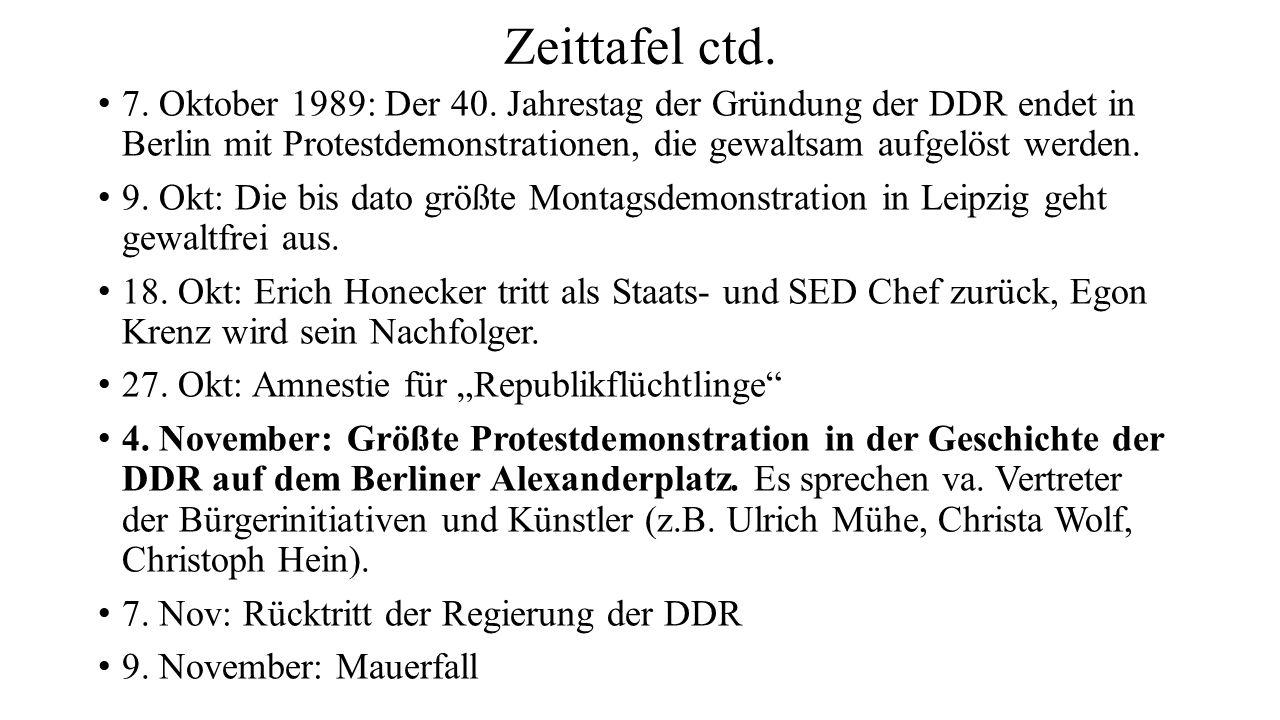 Zeittafel ctd. 7. Oktober 1989: Der 40. Jahrestag der Gründung der DDR endet in Berlin mit Protestdemonstrationen, die gewaltsam aufgelöst werden. 9.