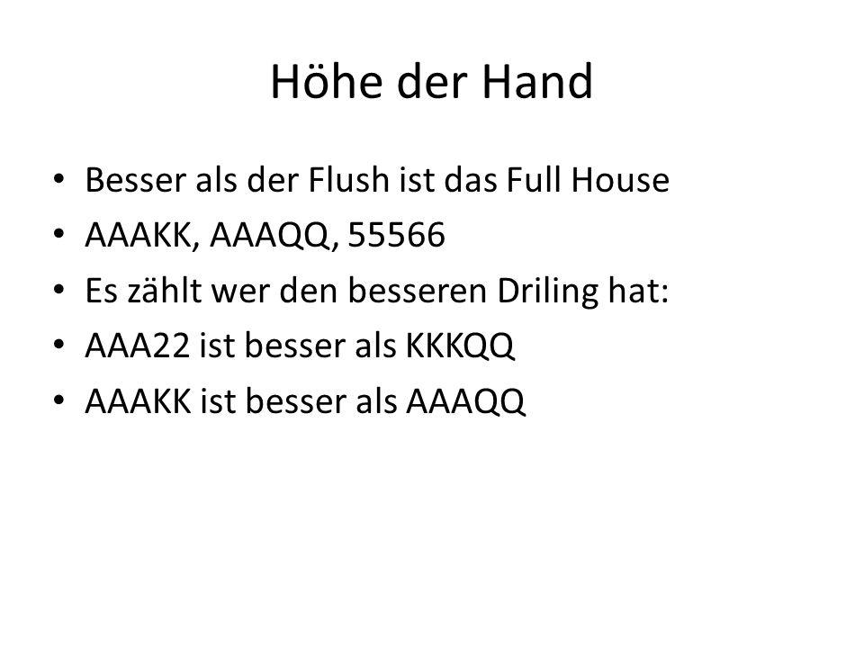 Höhe der Hand Besser als der Flush ist das Full House AAAKK, AAAQQ, 55566 Es zählt wer den besseren Driling hat: AAA22 ist besser als KKKQQ AAAKK ist