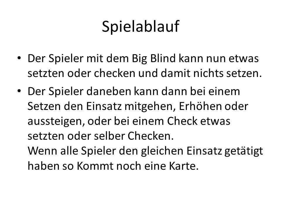 Spielablauf Der Spieler mit dem Big Blind kann nun etwas setzten oder checken und damit nichts setzen. Der Spieler daneben kann dann bei einem Setzen
