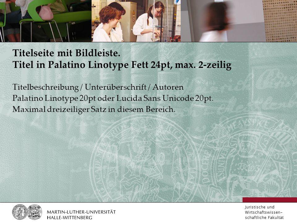 Juristische und Wirtschaftswissen- schaftliche Fakultät Titelseite mit Bildleiste.