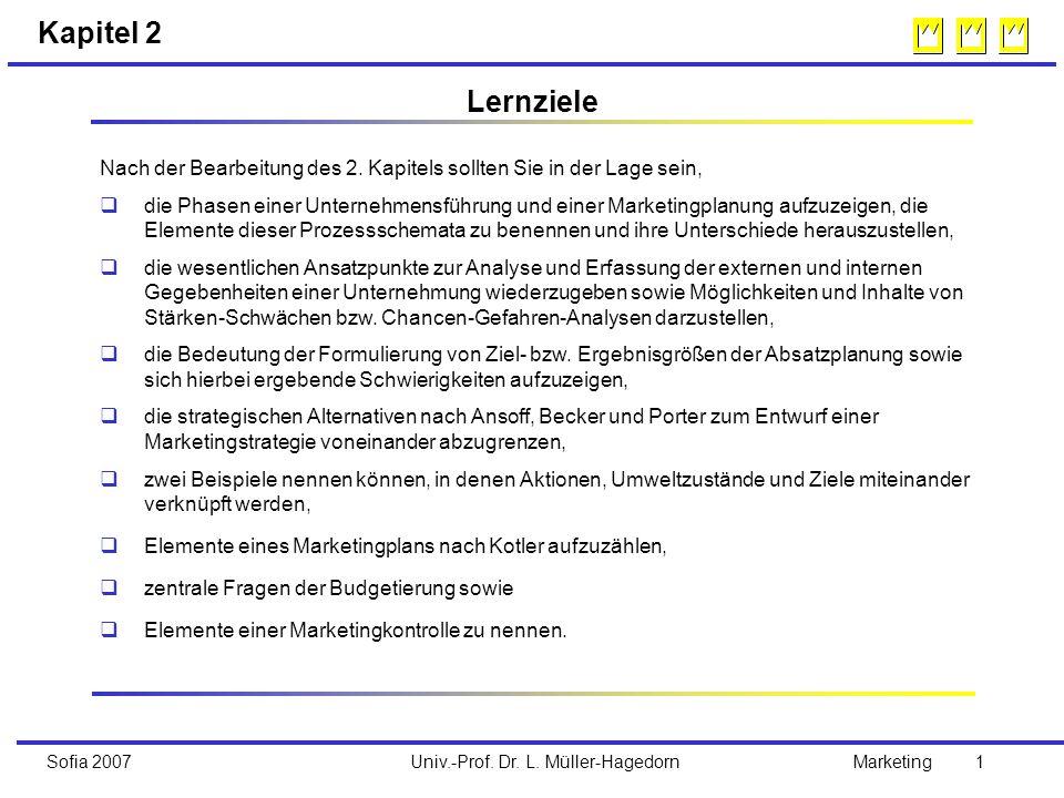 Univ.-Prof. Dr. L. Müller-HagedornSofia 2007Marketing 1 Kapitel 2 Nach der Bearbeitung des 2. Kapitels sollten Sie in der Lage sein, q die Phasen eine
