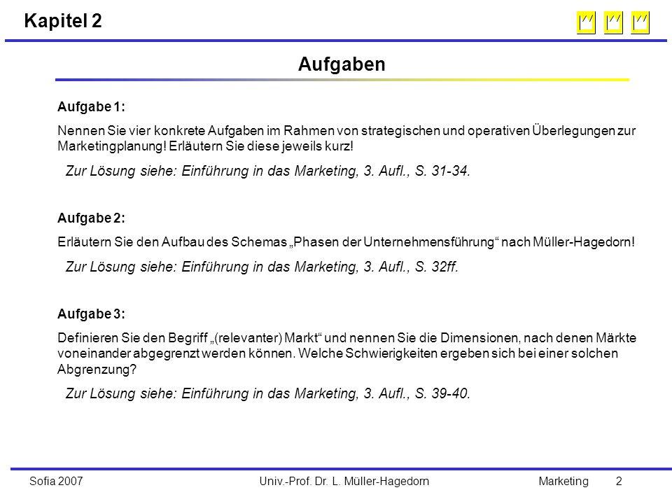 Univ.-Prof. Dr. L. Müller-HagedornSofia 2007Marketing 2 Kapitel 2 Aufgaben Aufgabe 1: Nennen Sie vier konkrete Aufgaben im Rahmen von strategischen un