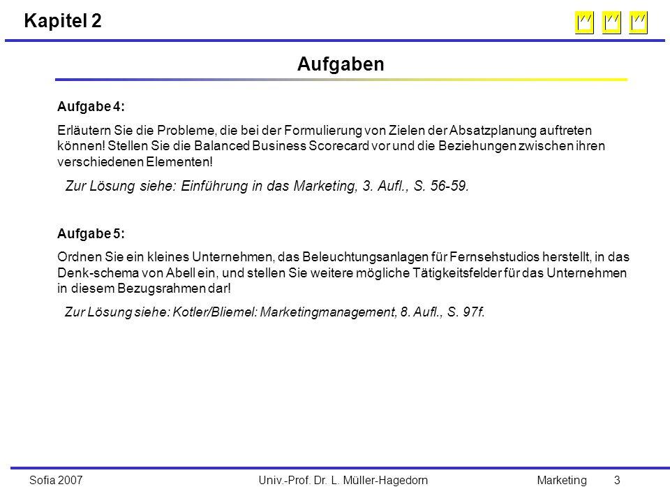Univ.-Prof. Dr. L. Müller-HagedornSofia 2007Marketing 3 Kapitel 2 Aufgabe 4: Erläutern Sie die Probleme, die bei der Formulierung von Zielen der Absat