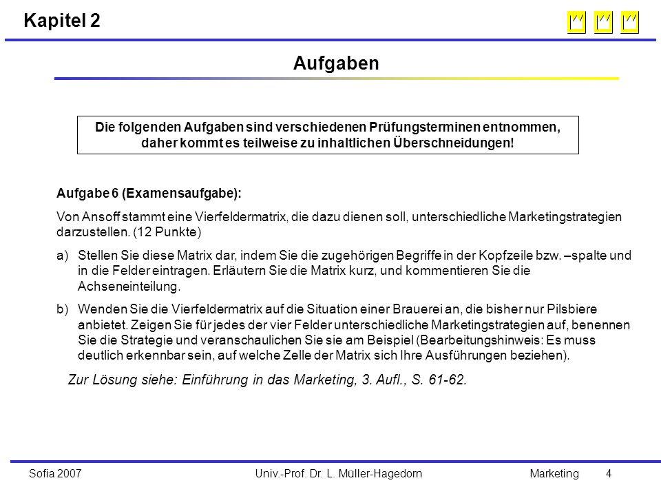 Univ.-Prof. Dr. L. Müller-HagedornSofia 2007Marketing 4 Aufgabe 6 (Examensaufgabe): Von Ansoff stammt eine Vierfeldermatrix, die dazu dienen soll, unt
