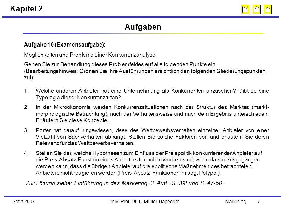 Univ.-Prof. Dr. L. Müller-HagedornSofia 2007Marketing 7 Aufgabe 10 (Examensaufgabe): Möglichkeiten und Probleme einer Konkurrenzanalyse. Gehen Sie zur