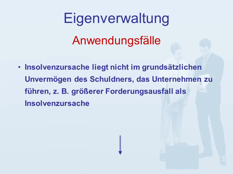 Anwendungsfälle Eigenverwaltung pre-packaged-Plan, d.