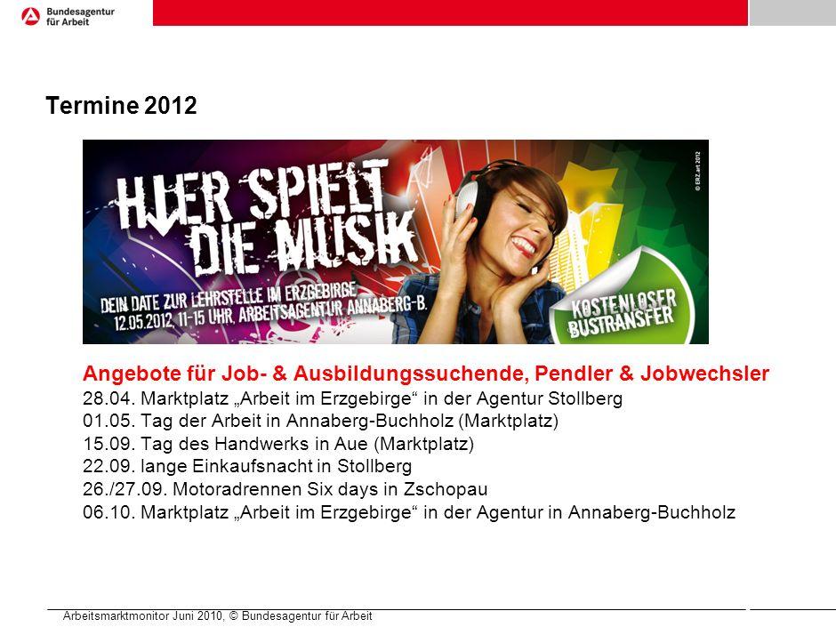 Arbeitsmarktmonitor Juni 2010, © Bundesagentur für Arbeit Termine 2012 Angebote für Job- & Ausbildungssuchende, Pendler & Jobwechsler 28.04.