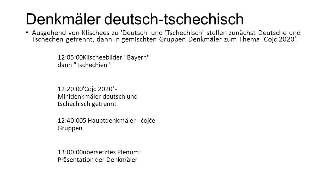 Denkmäler deutsch-tschechisch Ausgehend von Klischees zu Deutsch und Tschechisch stellen zunächst Deutsche und Tschechen getrennt, dann in gemischten Gruppen Denkmäler zum Thema Cojc 2020 .