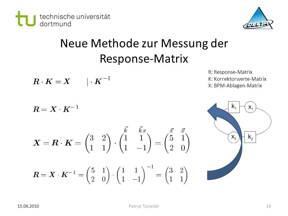 Neue Methode zur Messung der Response-Matrix R: Response-Matrix K: Korrektorwerte-Matrix X: BPM-Ablagen-Matrix 15.06.201014Patryk Towalski