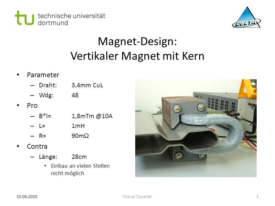 Magnet-Design: Miniaturisierung des vertikalen Magneten Parameter – Draht:1,9mm CuL – Wdg:210 Pro – B*l=2,1mTm @10A Contra – Länge:18cm Einbau nicht überall möglich – L=10mH Stromänderungsrate begrenzt – R=1  Wärmeentwicklung – Randfelder und Streufelder, weil Magnetkern fehlt 15.06.20103Patryk Towalski