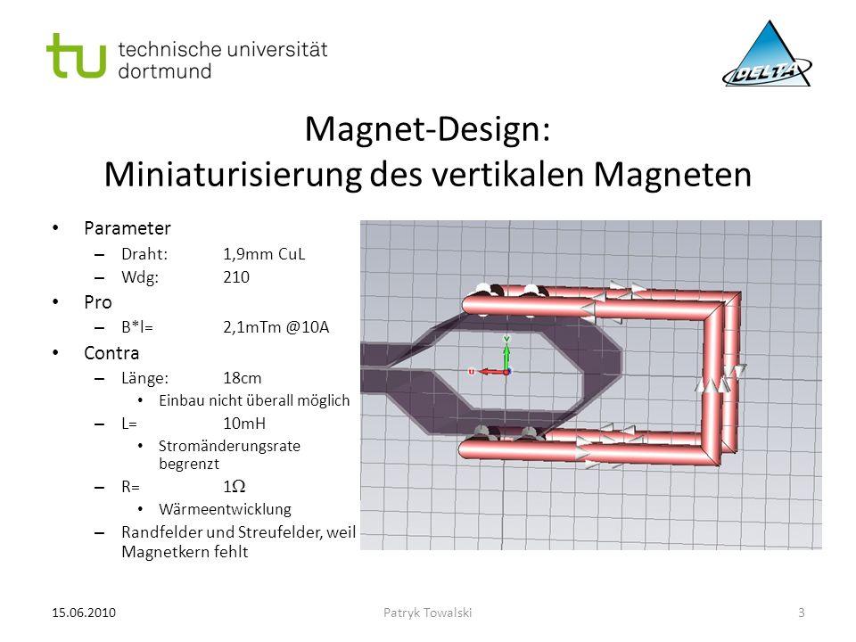 Magnet-Design: Miniaturisierung des vertikalen Magneten Parameter – Draht:1,9mm CuL – Wdg:210 Pro – B*l=2,1mTm @10A Contra – Länge:18cm Einbau nicht ü