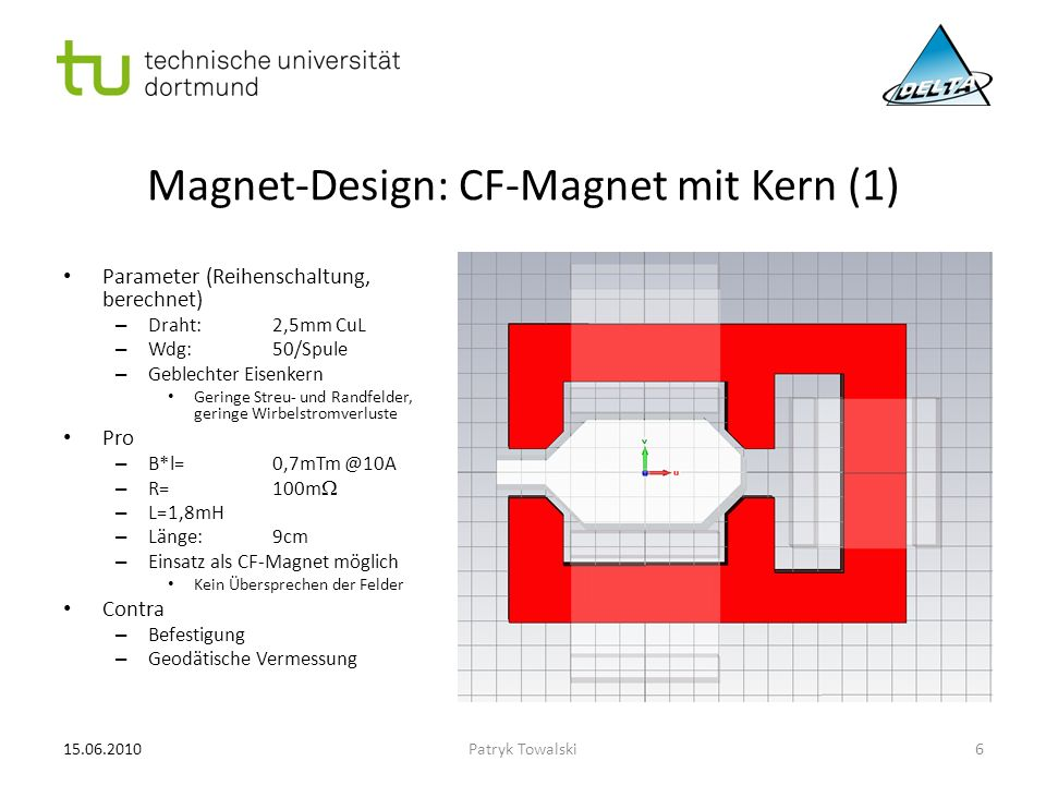 Magnet-Design: CF-Magnet mit Kern (2) Parameter (Reihenschaltung, berechnet) – Draht:2,5mm CuL – Wdg:50/Spule – Geblechter Eisenkern Geringe Streu- und Randfelder, geringe Wirbelstromverluste Pro – B*l=0,7mTm @10A – R=100m  – L=1,8mH – Länge:9cm – Einsatz als CF-Magnet möglich – Möglichkeit zur geodätischen Vermessung – Justierbar Contra – Komplexität 15.06.20107Patryk Towalski