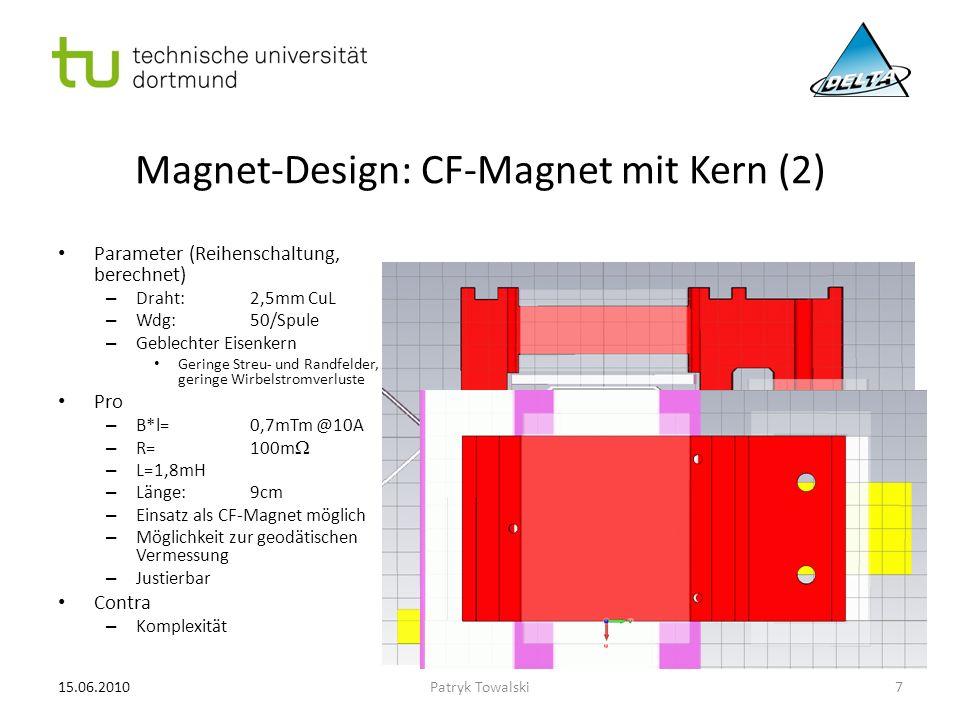 Magnet-Design: CF-Magnet mit Kern (2) Parameter (Reihenschaltung, berechnet) – Draht:2,5mm CuL – Wdg:50/Spule – Geblechter Eisenkern Geringe Streu- un