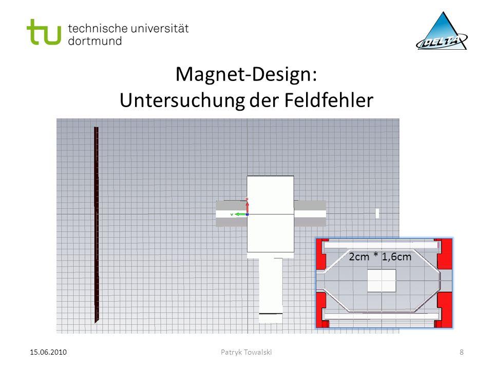 Magnet-Design: Untersuchung der Feldfehler 15.06.20108Patryk Towalski 2cm * 1,6cm