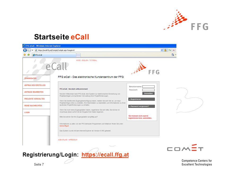 Seite 7 Startseite eCall. Registrierung/Login: https://ecall.ffg.athttps://ecall.ffg.at