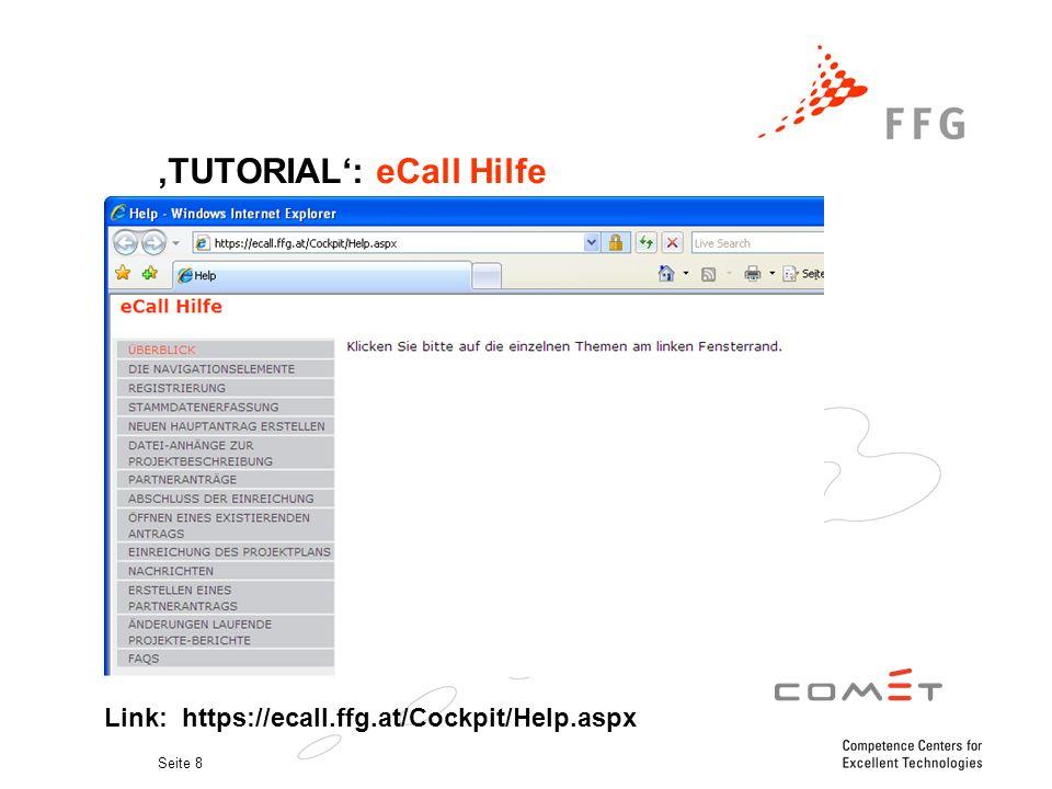 Seite 8 'TUTORIAL': eCall Hilfe. Link: https://ecall.ffg.at/Cockpit/Help.aspx