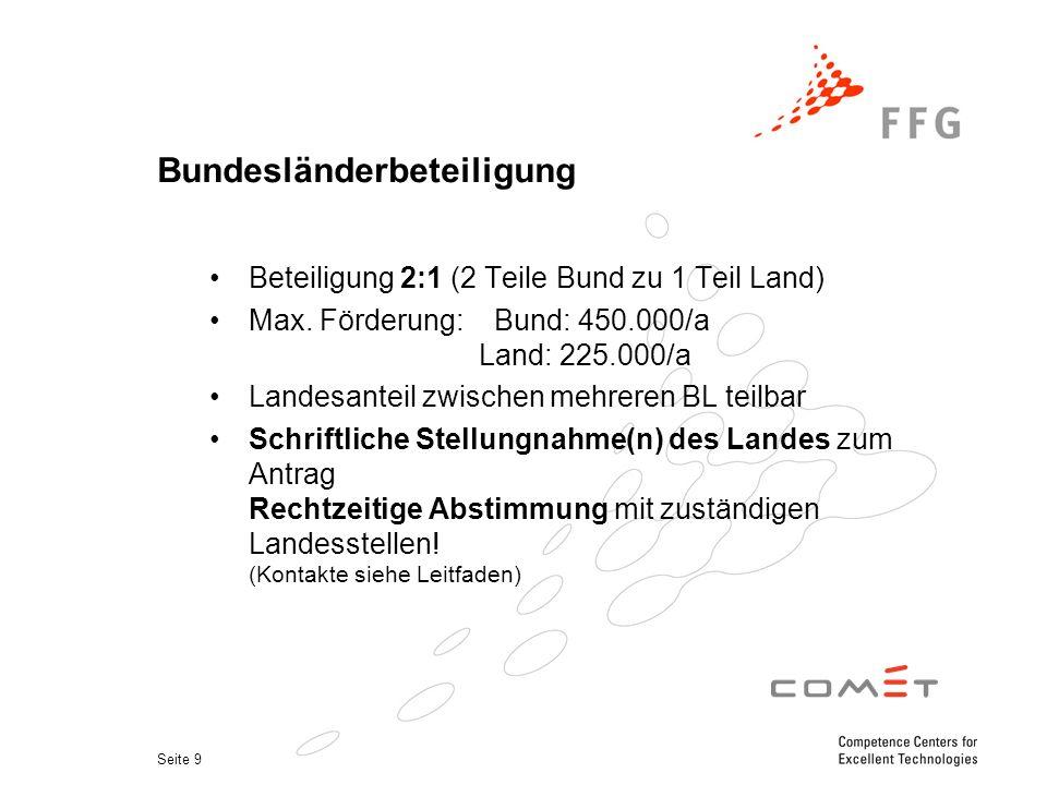 Seite 9 Bundesländerbeteiligung Beteiligung 2:1 (2 Teile Bund zu 1 Teil Land) Max.