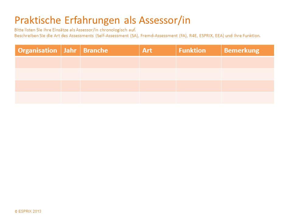 © ESPRIX 2013 Praktische Erfahrungen als Assessor/in Bitte listen Sie Ihre Einsätze als Assessor/in chronologisch auf.