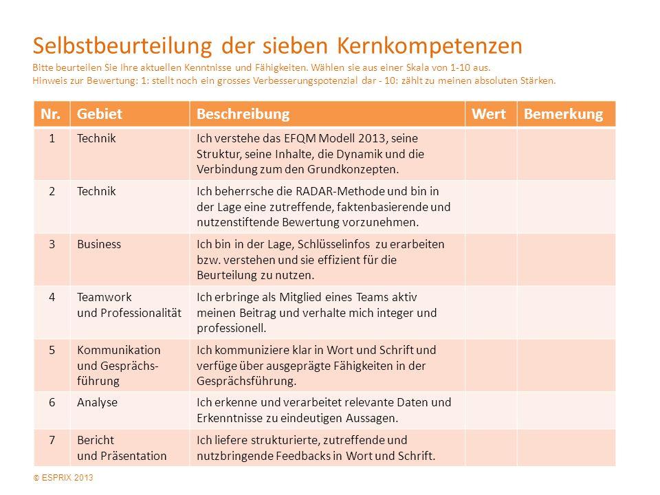 © ESPRIX 2013 Selbstbeurteilung der sieben Kernkompetenzen Bitte beurteilen Sie Ihre aktuellen Kenntnisse und Fähigkeiten.