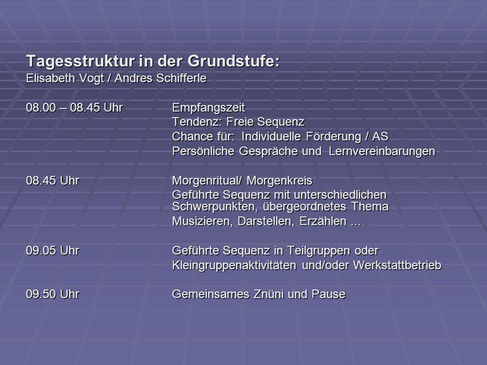 Tagesstruktur in der Grundstufe: Elisabeth Vogt / Andres Schifferle 08.00 – 08.45 UhrEmpfangszeit Tendenz: Freie Sequenz Chance für: Individuelle Förd