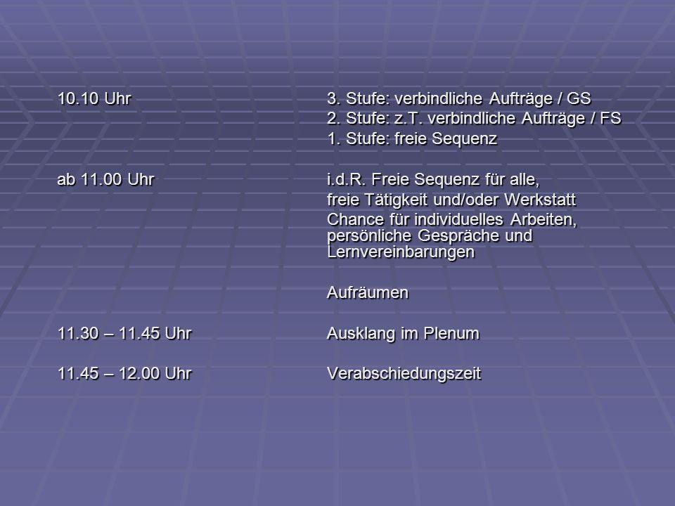 10.10 Uhr3. Stufe: verbindliche Aufträge / GS 2. Stufe: z.T. verbindliche Aufträge / FS 1. Stufe: freie Sequenz ab 11.00 Uhri.d.R. Freie Sequenz für a