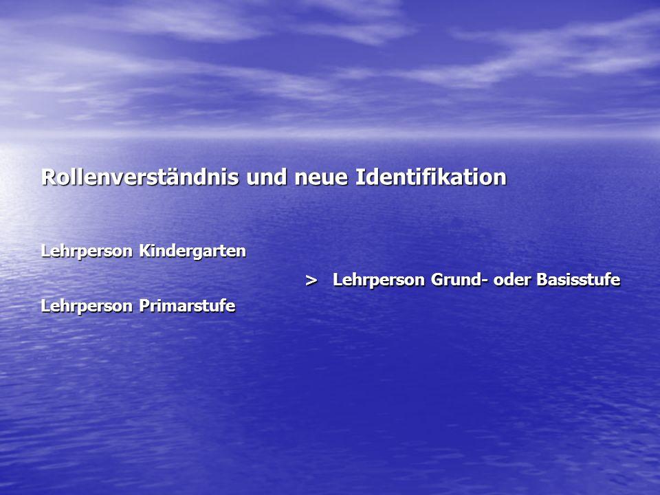 Rollenverständnis und neue Identifikation Lehrperson Kindergarten > Lehrperson Grund- oder Basisstufe Lehrperson Primarstufe