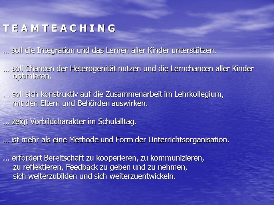 T E A M T E A C H I N G … soll die Integration und das Lernen aller Kinder unterstützen.... soll Chancen der Heterogenität nutzen und die Lernchancen