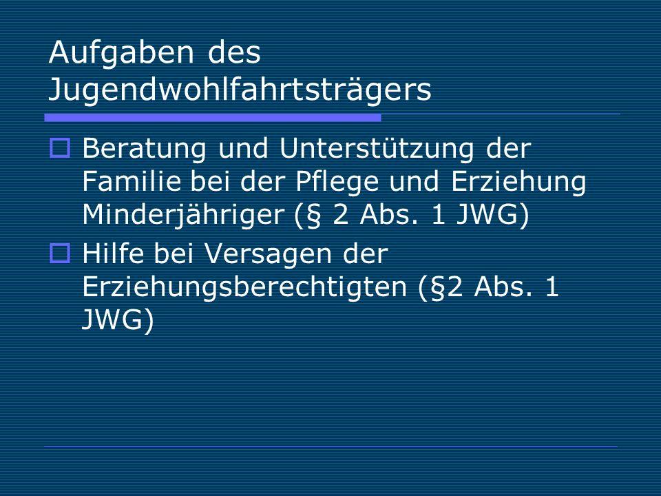 Aufgaben des Jugendwohlfahrtsträgers  Beratung und Unterstützung der Familie bei der Pflege und Erziehung Minderjähriger (§ 2 Abs.