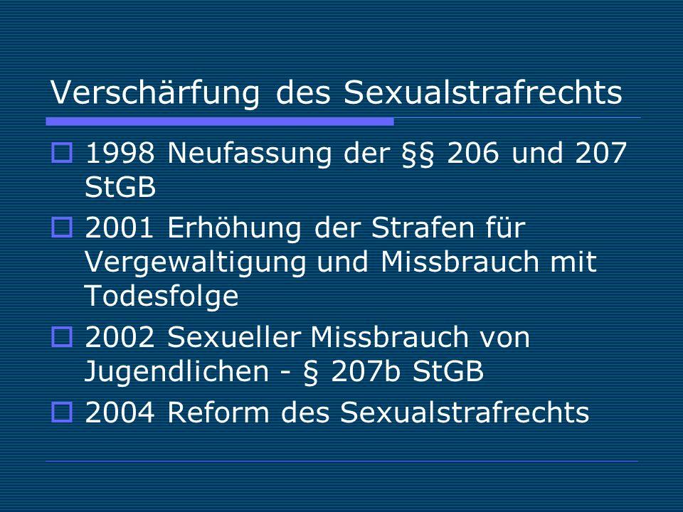 Verschärfung des Sexualstrafrechts  1998 Neufassung der §§ 206 und 207 StGB  2001 Erhöhung der Strafen für Vergewaltigung und Missbrauch mit Todesfolge  2002 Sexueller Missbrauch von Jugendlichen - § 207b StGB  2004 Reform des Sexualstrafrechts