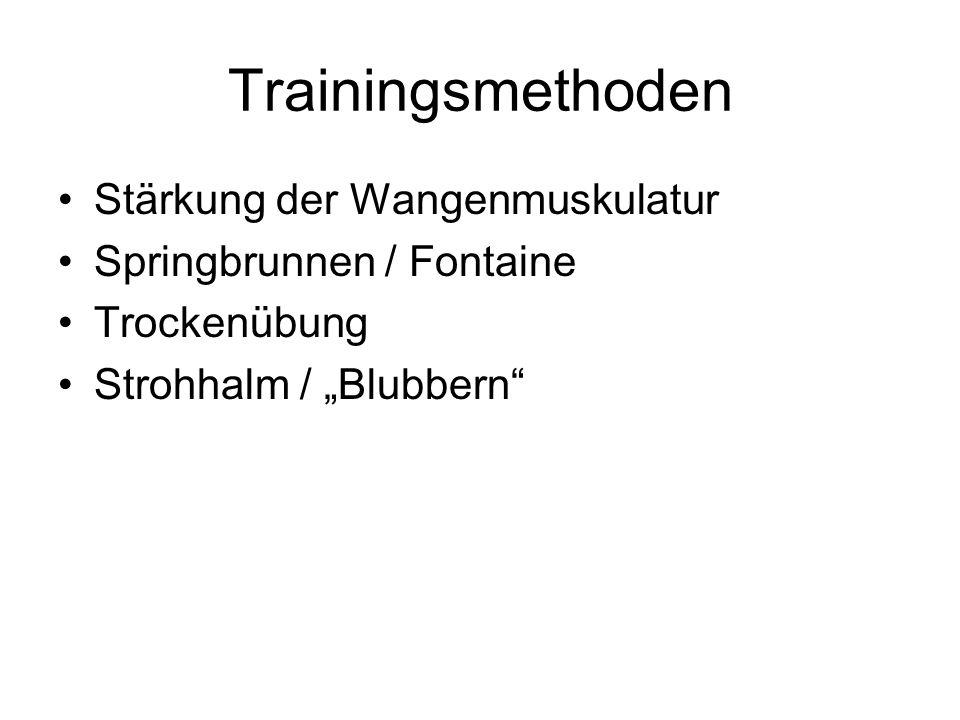 """Trainingsmethoden Stärkung der Wangenmuskulatur Springbrunnen / Fontaine Trockenübung Strohhalm / """"Blubbern"""