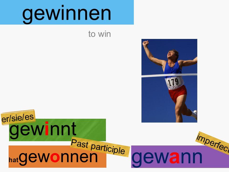 gewinnen gewinnt hat gewonnen to win er/sie/es Past participle gewann imperfect
