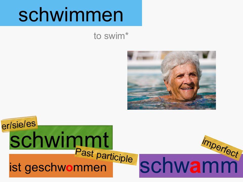 schwimmen schwimmt ist geschwommen to swim* er/sie/es Past participle schwamm imperfect