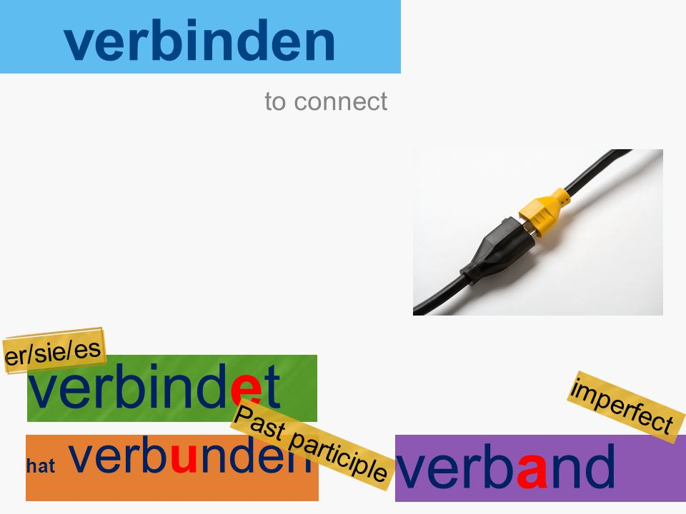 verbinden verbindet hat verbunden to connect er/sie/es Past participle verband imperfect