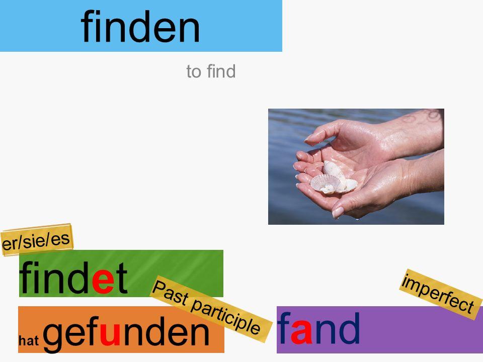 finden findet hat gefunden to find er/sie/es Past participle fand imperfect