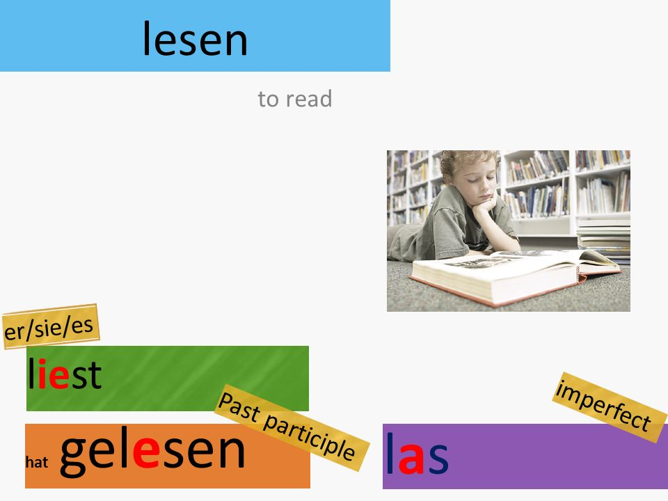lesen liest hat gelesen to read er/sie/es Past participle laslas imperfect