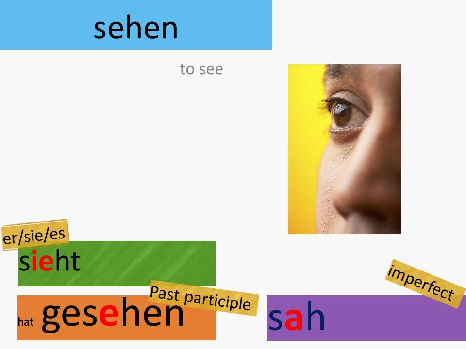 sehen sieht hat gesehen to see er/sie/es Past participle sahsah imperfect