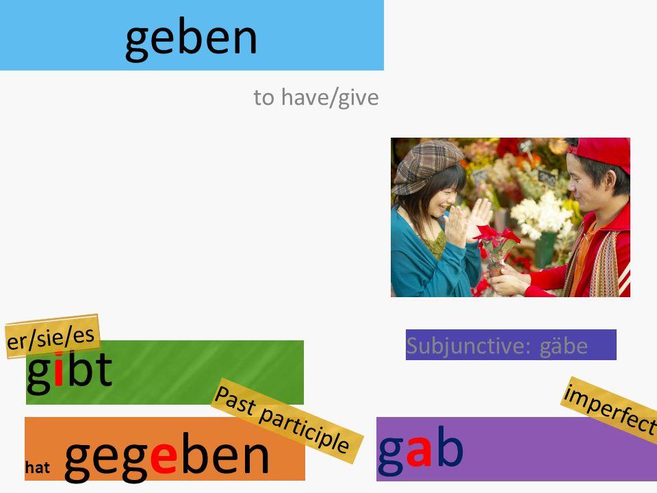 geben gibt hat gegeben to have/give er/sie/es Subjunctive: gäbe Past participle gabgab imperfect