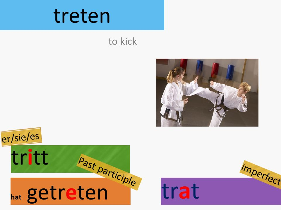 treten tritt hat getreten to kick er/sie/es Past participle trat imperfect