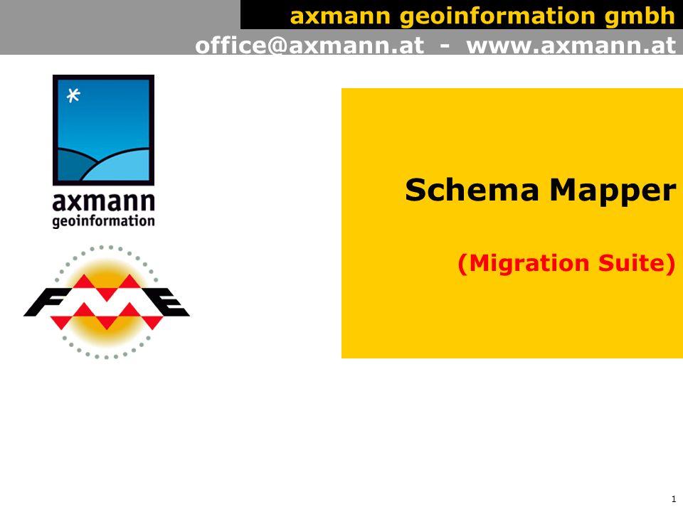 2 office@axmann.at - www.axmann.at axmann geoinformation gmbh Axmann Geoinformation vertreibt Produkte der Safe Software seit 2000.